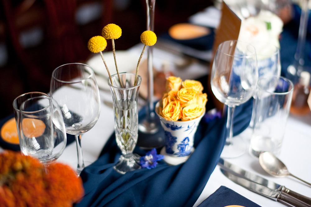 Vase Flowers Yellow Table Floral Wedding Rachael Connerton Photography