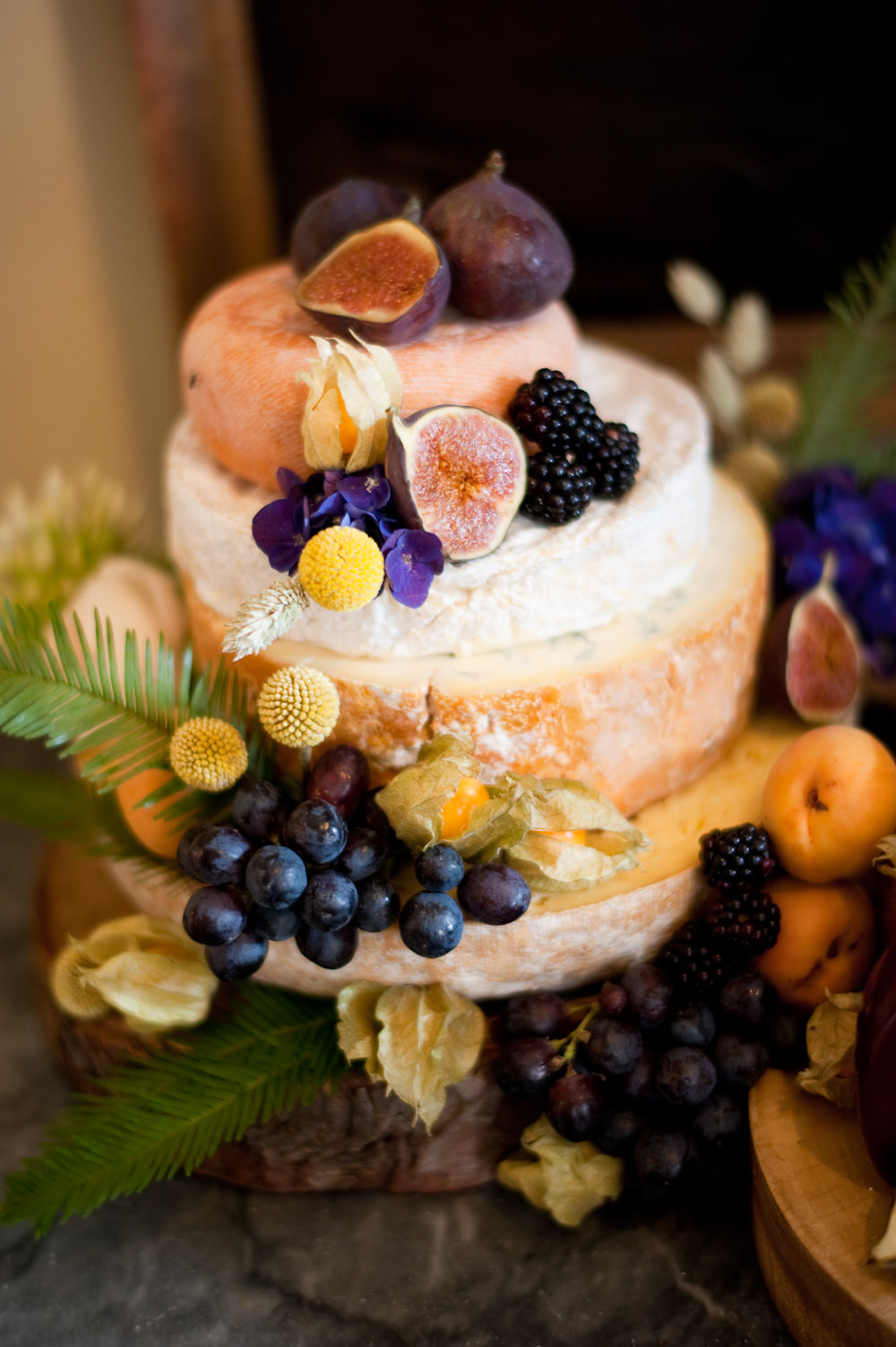 Cheese Cake Stack Tower Fruit Flowers Floral Wedding Rachael Connerton Photography