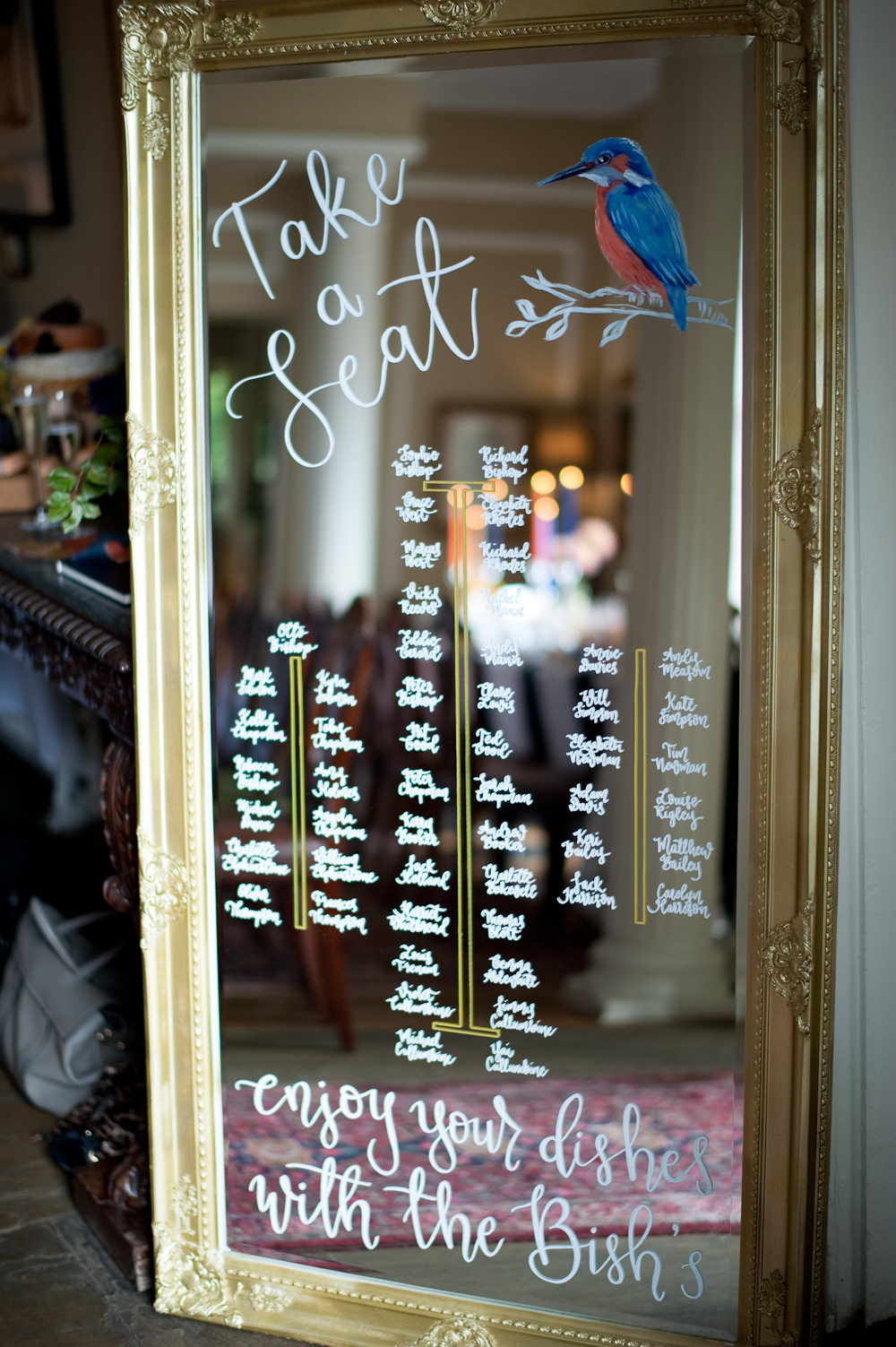 Table Plan Seating Chart Mirror Calligraphy Bird Floral Wedding Rachael Connerton Photography