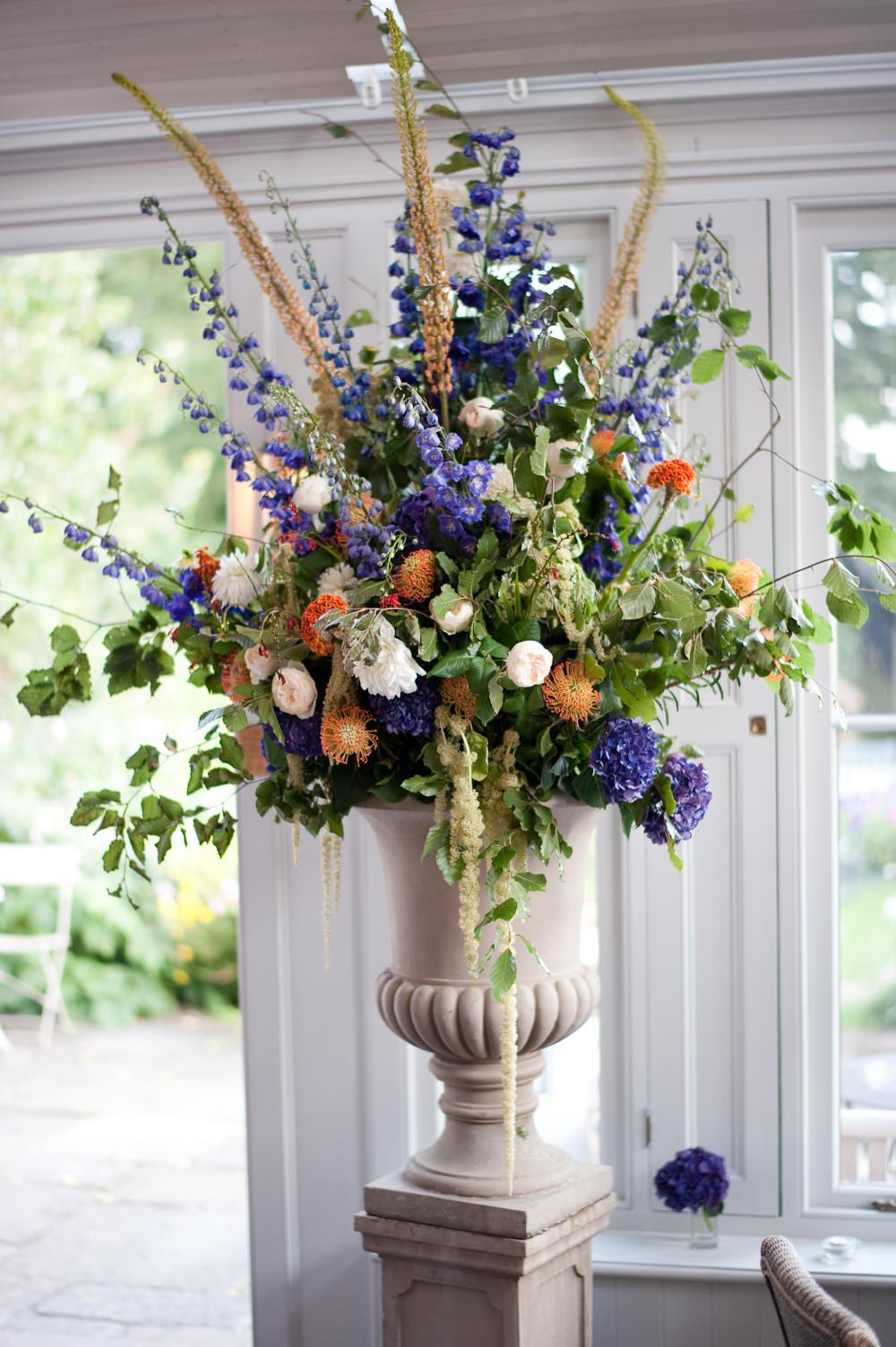 Flower Arrangement Orange Blue Floral Wedding Rachael Connerton Photography