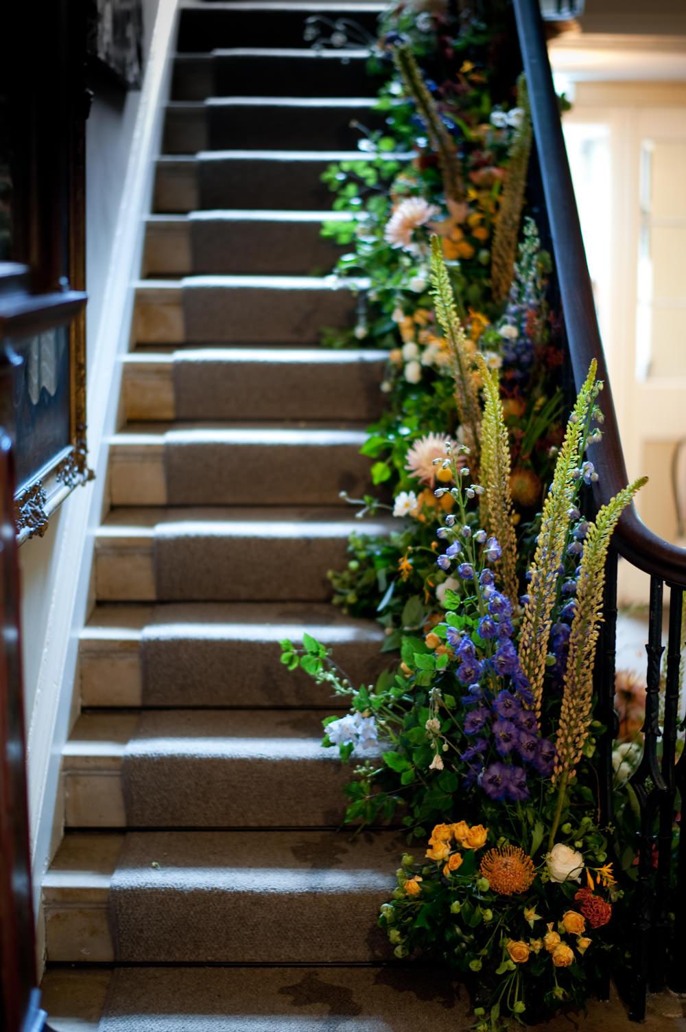 Meadow Flowers Stairs Arrangement Floral Wedding Rachael Connerton Photography