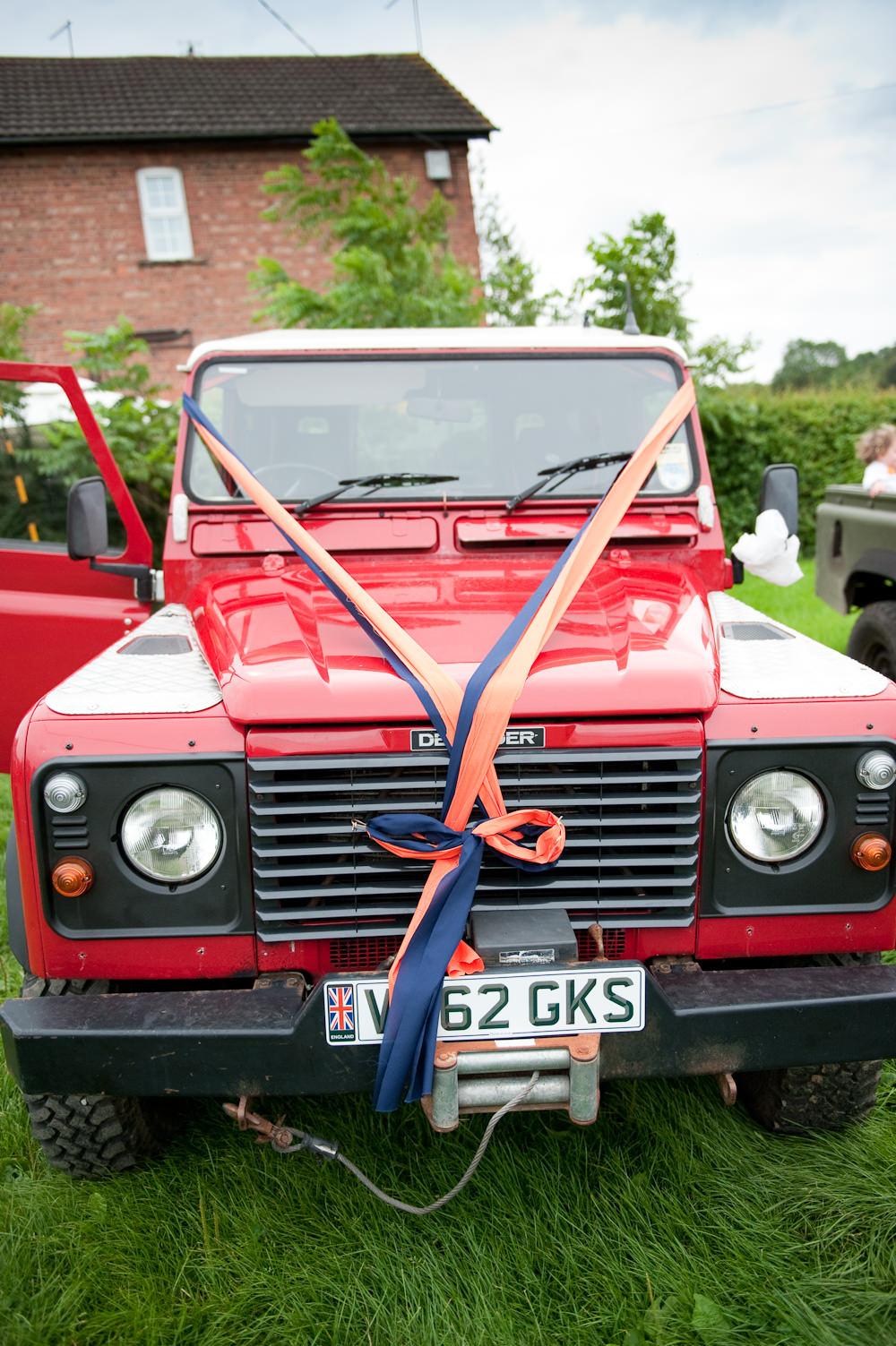 Car Transport Land Rover Defenders Floral Wedding Rachael Connerton Photography