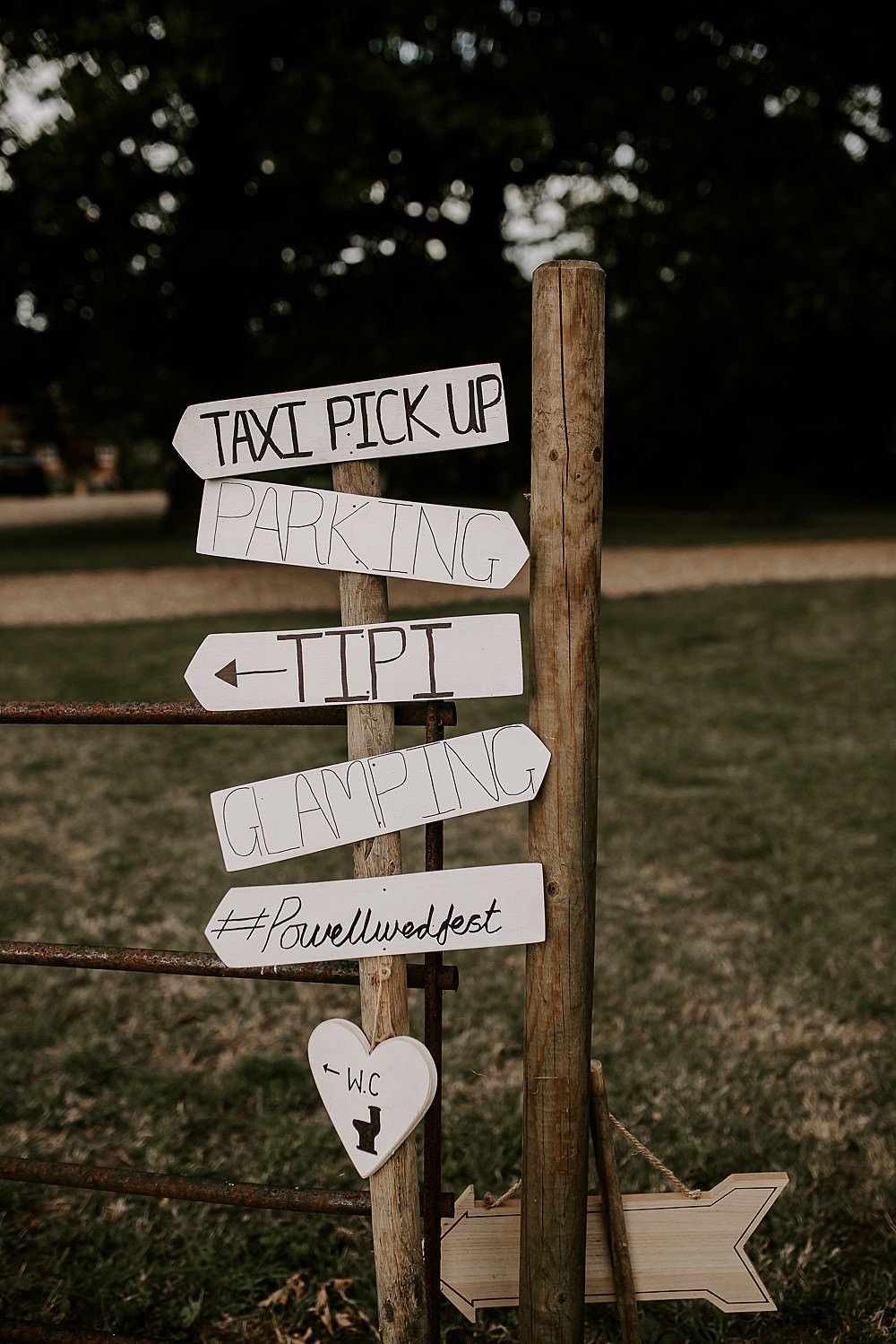 Signpost Sign Signs Glevering Hall Wedding Sharon Cudworth Photography