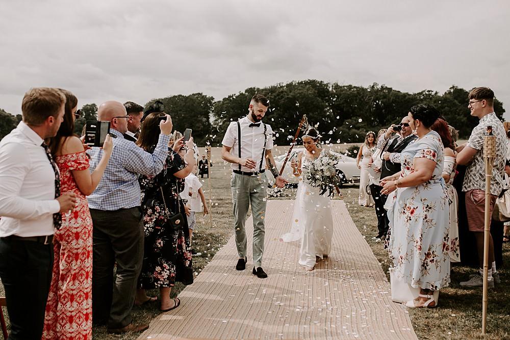 Confetti Throw Glevering Hall Wedding Sharon Cudworth Photography