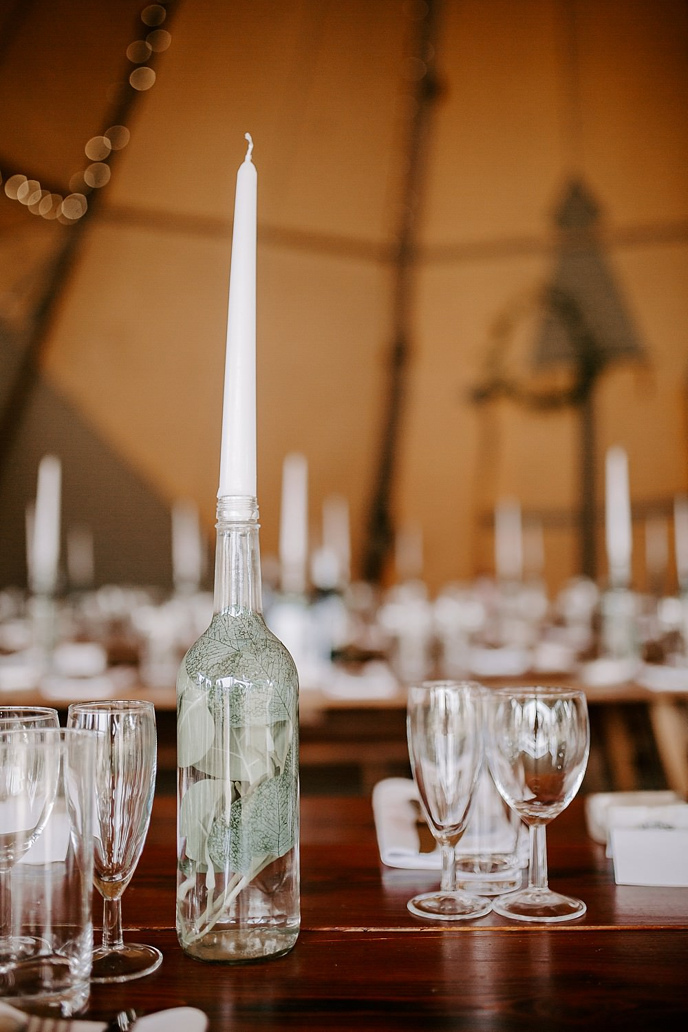 Bottle Candle Greenery Glevering Hall Wedding Sharon Cudworth Photography