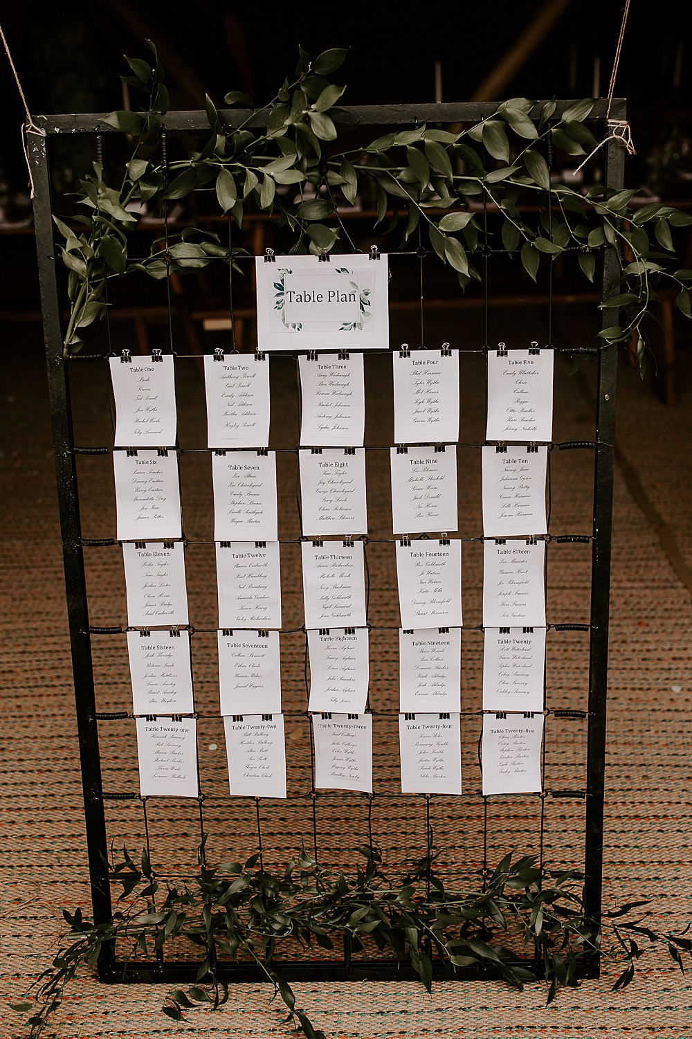 Table Plan Seating Chart Wire Greenery Glevering Hall Wedding Sharon Cudworth Photography