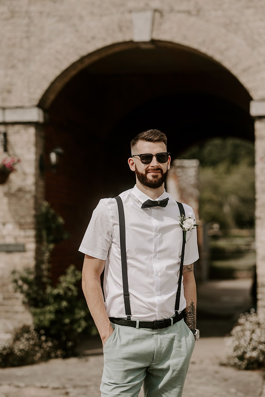 Groom Suit Bow Tie Braces Glevering Hall Wedding Sharon Cudworth Photography