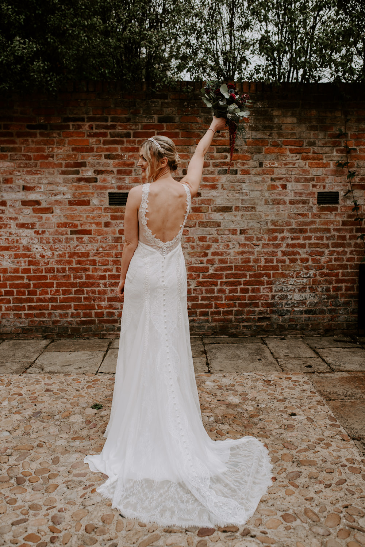 Dress Gown Bride Bridal Long Sleeve Low Back Hazel Gap Barn Wedding The Light Painters