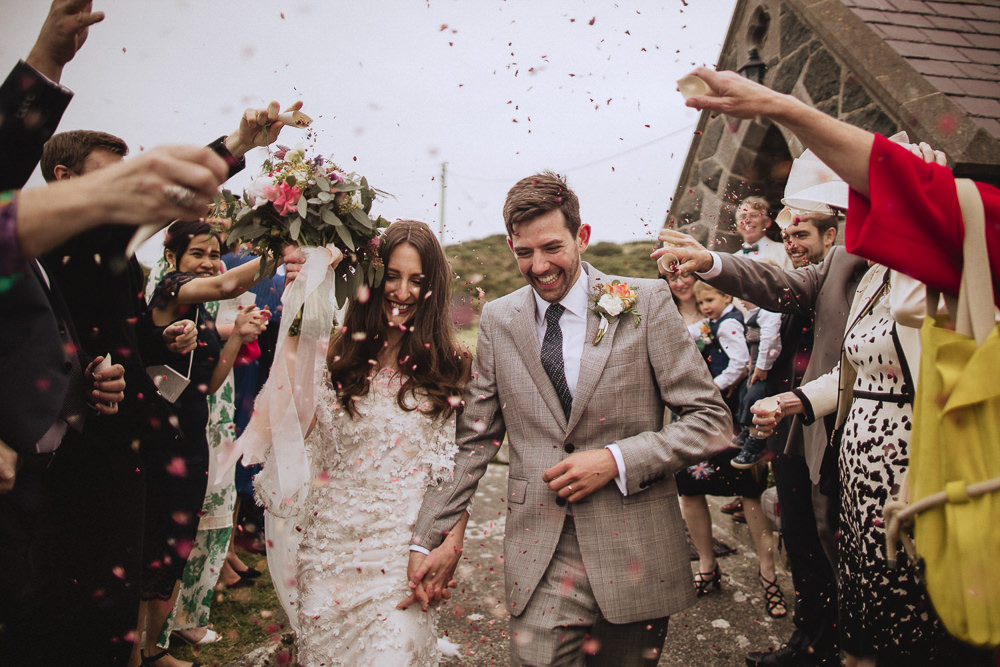 Confetti Throw Marquee Wedding Wales Fox & Bear Photography