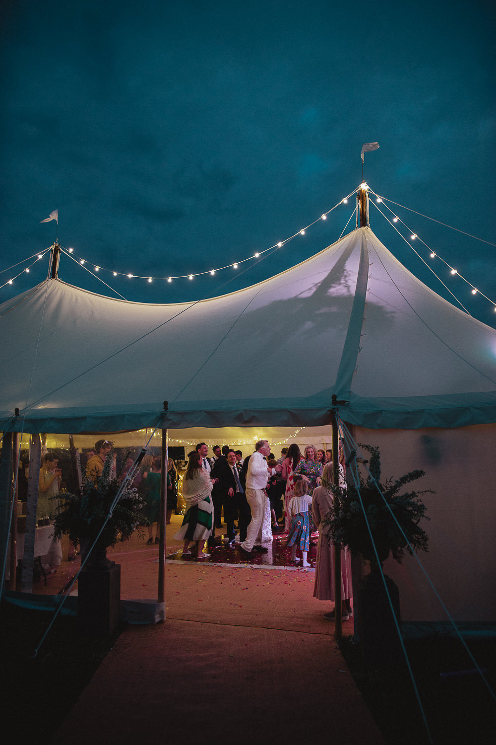 Fairy Lights Open Sided Pole Tent Marquee Wedding Wales Fox & Bear Photography