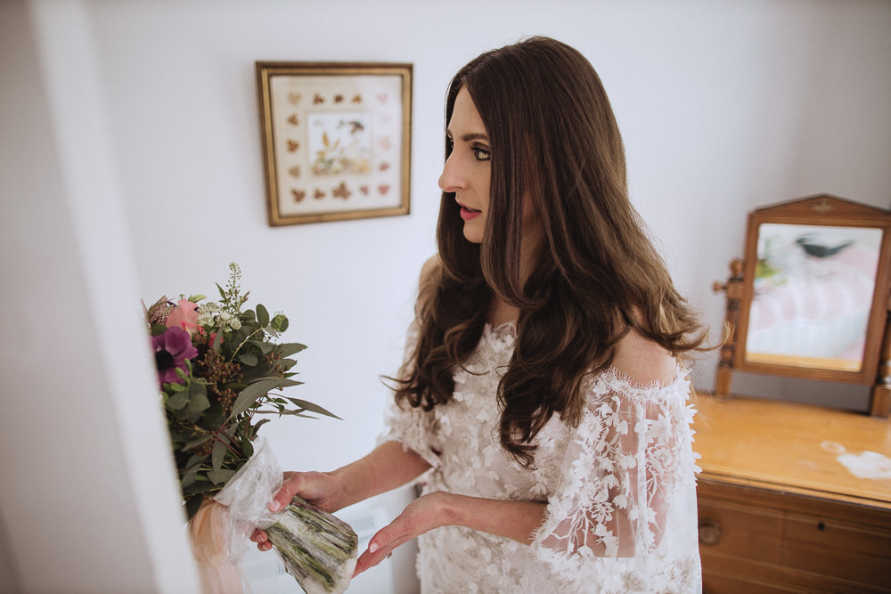 Bride Bridal Hair Waves Marquee Wedding Wales Fox & Bear Photography