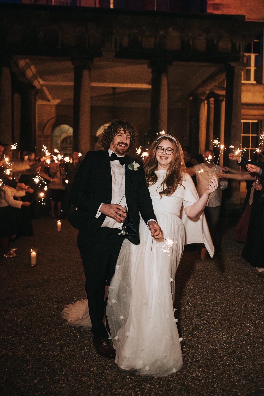 Sparklers Sparkler Exit Send Off Prestwold Hall Wedding Pear & Bear Photography