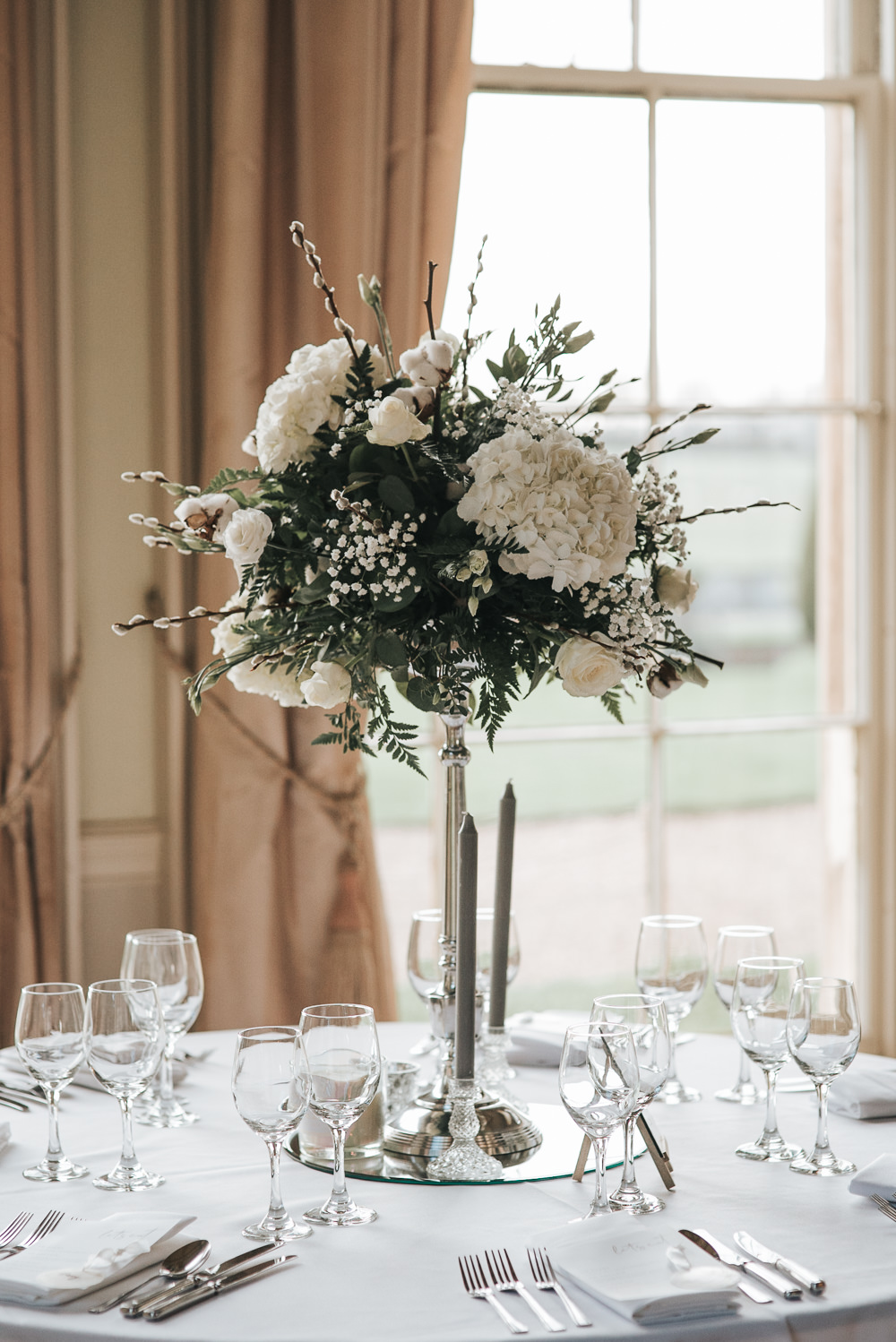 Tall Flowers Centrepiece White Greenery Prestwold Hall Wedding Pear & Bear Photography