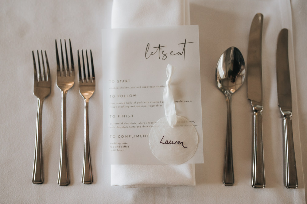Glassine Stationery Clear Vellum Menu Shell Place Name Calligraphy Prestwold Hall Wedding Pear & Bear Photography
