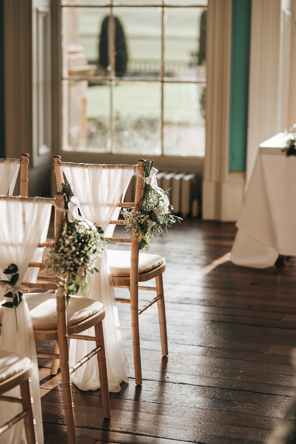Chair Backs Fabric Flowers Ceremony Aisle Pew End Prestwold Hall Wedding Pear & Bear Photography