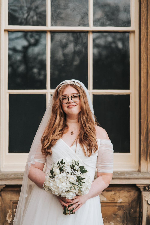 Bride Bridal Hair Make Up Glasses Veil Prestwold Hall Wedding Pear & Bear Photography