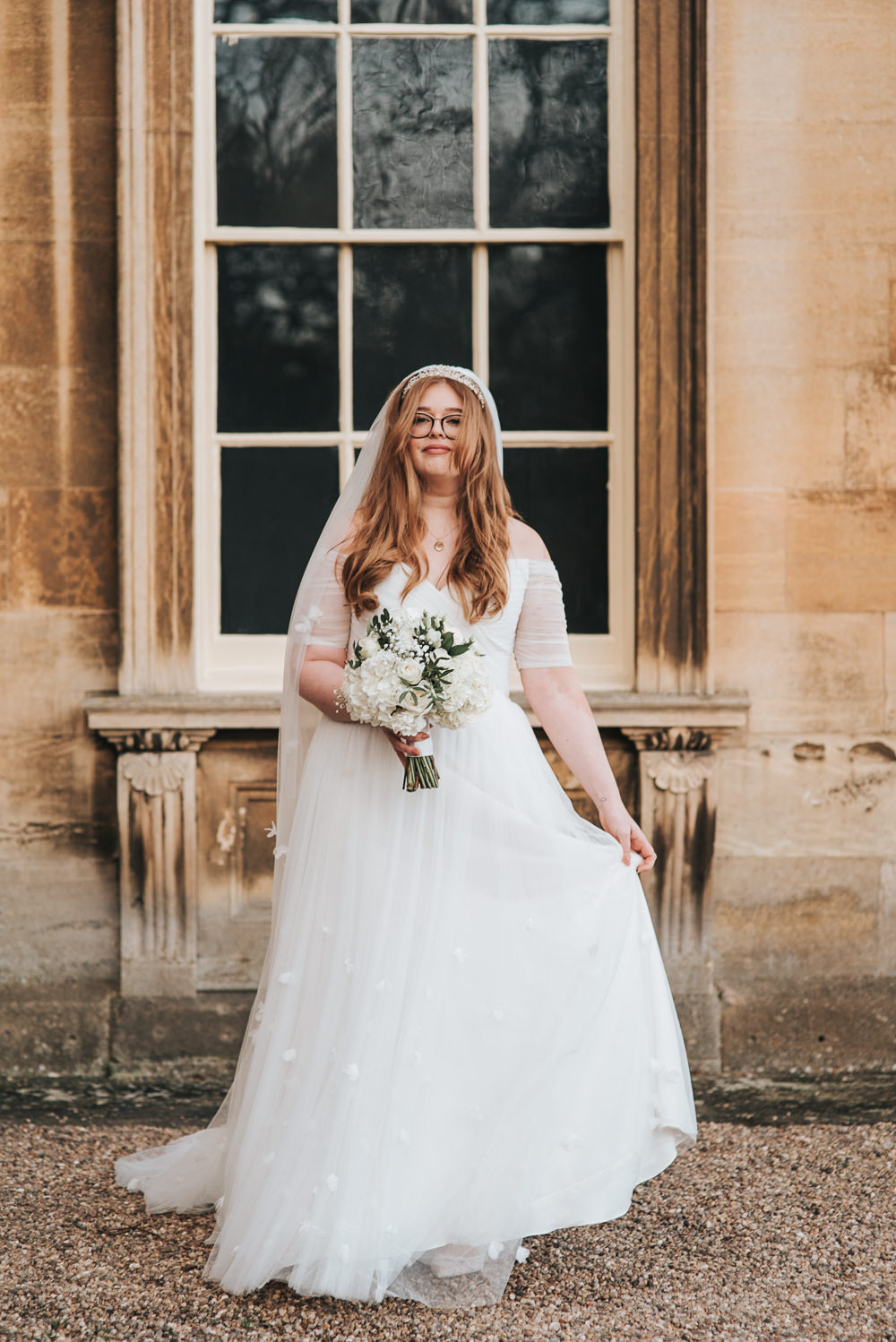 Dress Gown Bride Bridal Sleeves Train Tulle Prestwold Hall Wedding Pear & Bear Photography