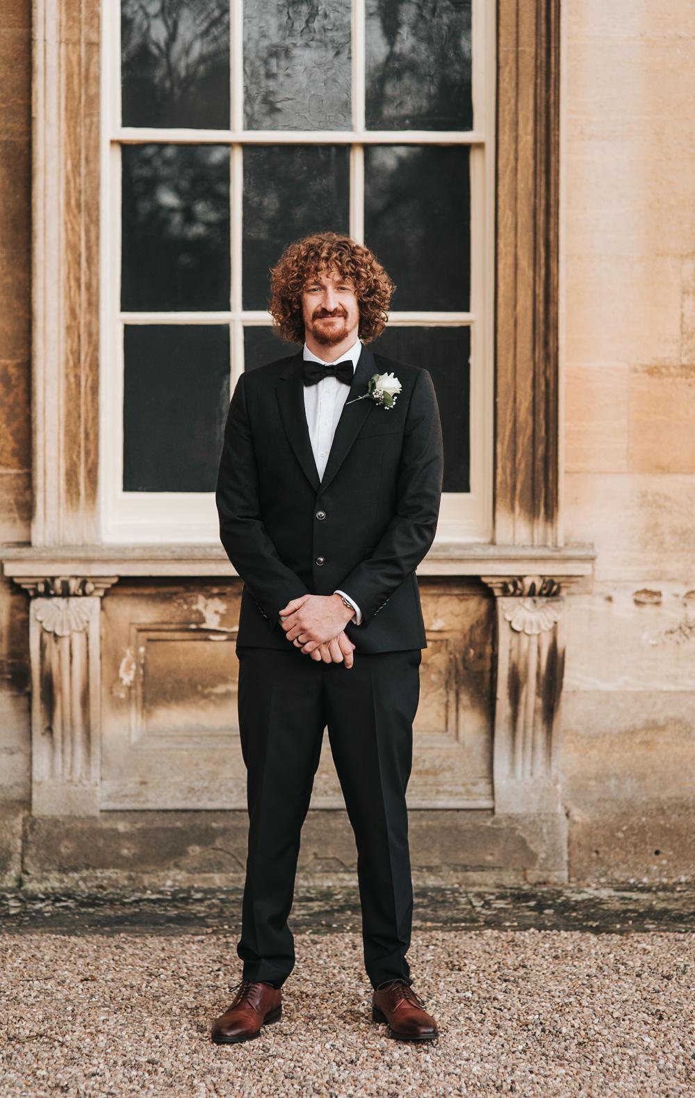 Groom Suit Black Bow Tie Prestwold Hall Wedding Pear & Bear Photography