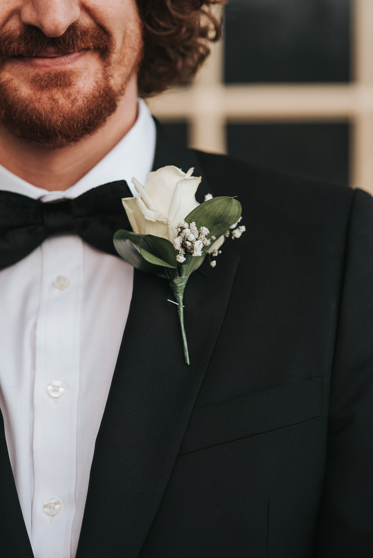 Rose Buttonhole Groom Prestwold Hall Wedding Pear & Bear Photography