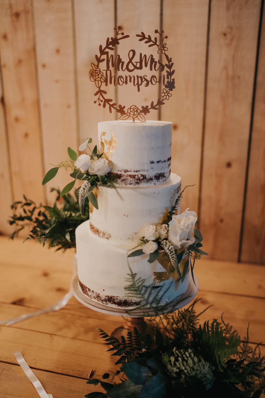 Semi Naked Buttercream Cake Flowers Wooden Topper The Barns East Yorkshire Wedding Bloom Weddings
