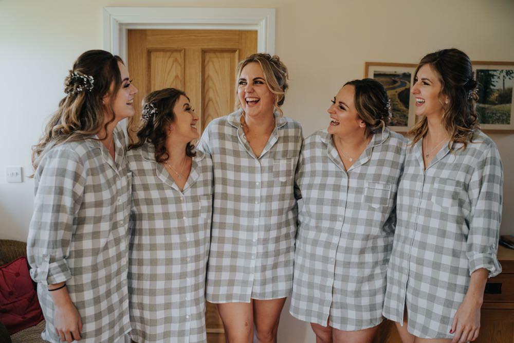 Bride Bridal Bridesmaids PJs Pyjamas The Barns East Yorkshire Wedding Bloom Weddings