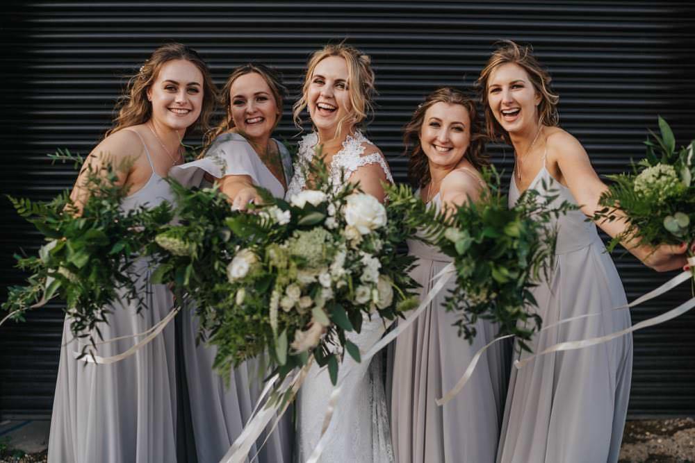 Bride Bridesmaid Bouquets Greenery Foliage The Barns East Yorkshire Wedding Bloom Weddings