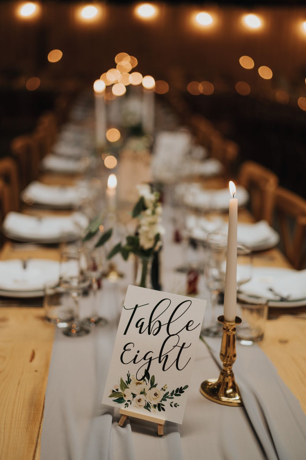 Table Decor Grey Silk Runner Candles Table Number Calligraphy The Barns East Yorkshire Wedding Bloom Weddings