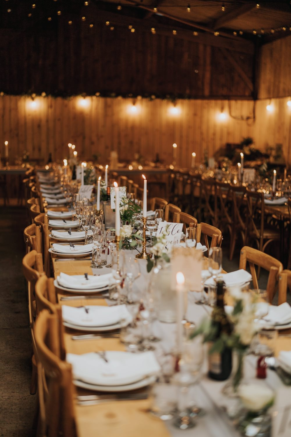 Decor Long Tables Candles Flowers The Barns East Yorkshire Wedding Bloom Weddings