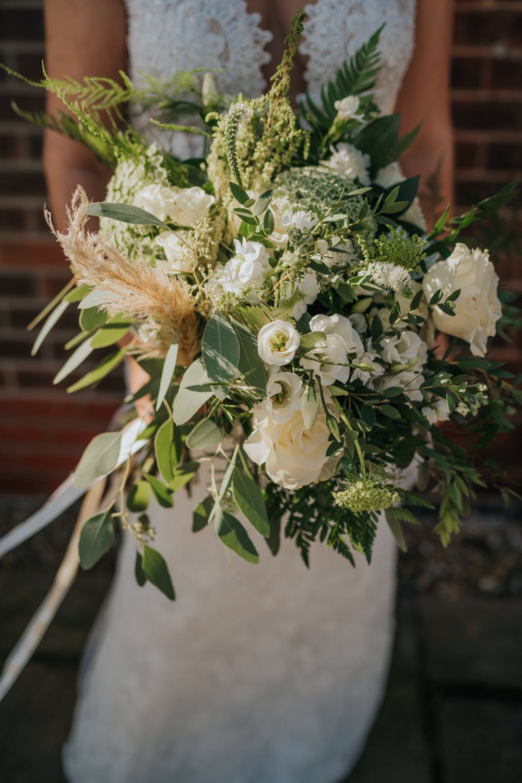 Bouquet Flowers Bride Bridal Greenery Pampas Grass Foliage The Barns East Yorkshire Wedding Bloom Weddings