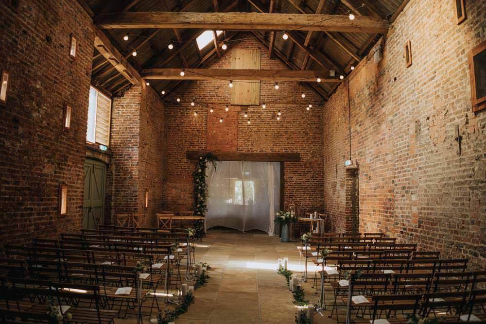 Fairy Lights Ceremony The Barns East Yorkshire Wedding Bloom Weddings