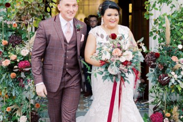 Autumn Halloween Wedding Hannah Mckernan Flower Arch Greenery Foliage Pampas Grass