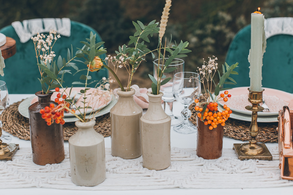 Earthenware Bottles Flowers Beach Wedding UK Maria Madison Photographer