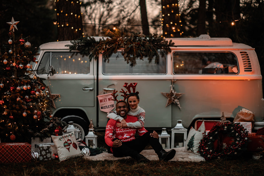 Christmas Engagement Avalon Photography Campervan VW Camper Photobooth