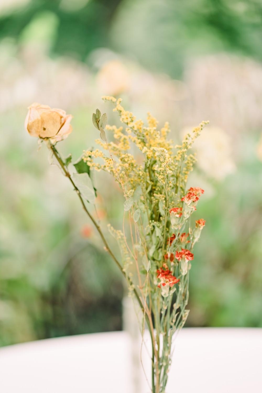 Wild Flowers Vase Bottle Garden Wedding Reception Jade Touron Photography