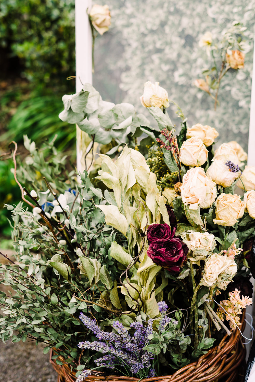 Basket Flowers Decor Garden Wedding Reception Jade Touron Photography