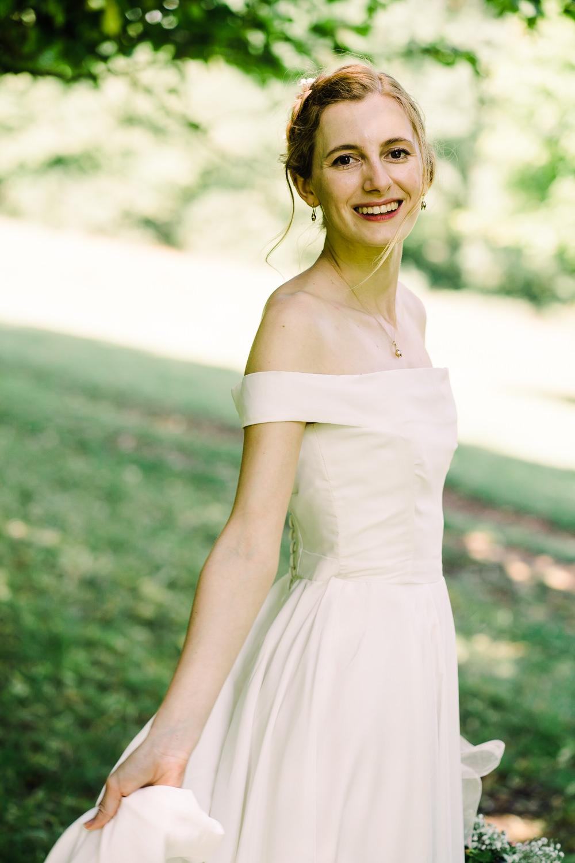 Dress Gown Bride Bridal Off Shoulder Bardot Garden Wedding Reception Jade Touron Photography