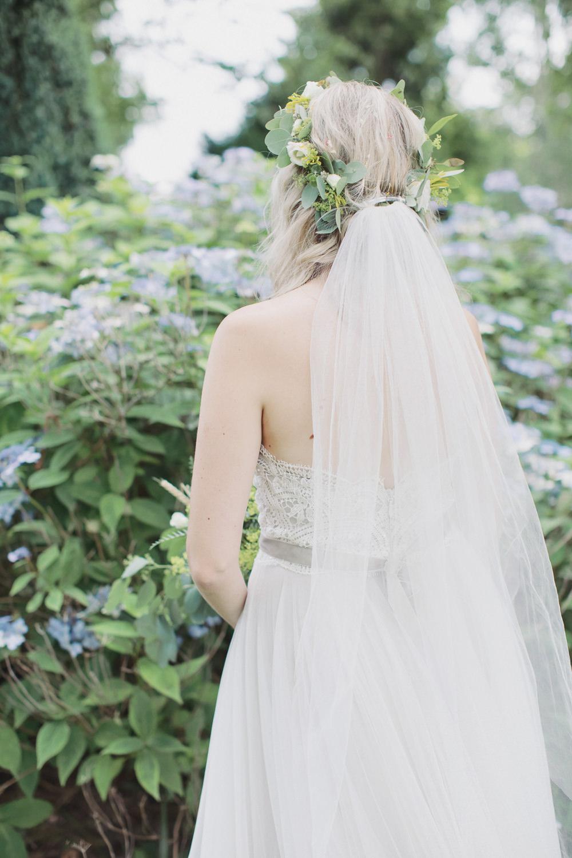 Dress Gown Bride Bridal Floaty Strapless Veil Flower Crown Hide Sheffield Wedding Sasha Lee Photography