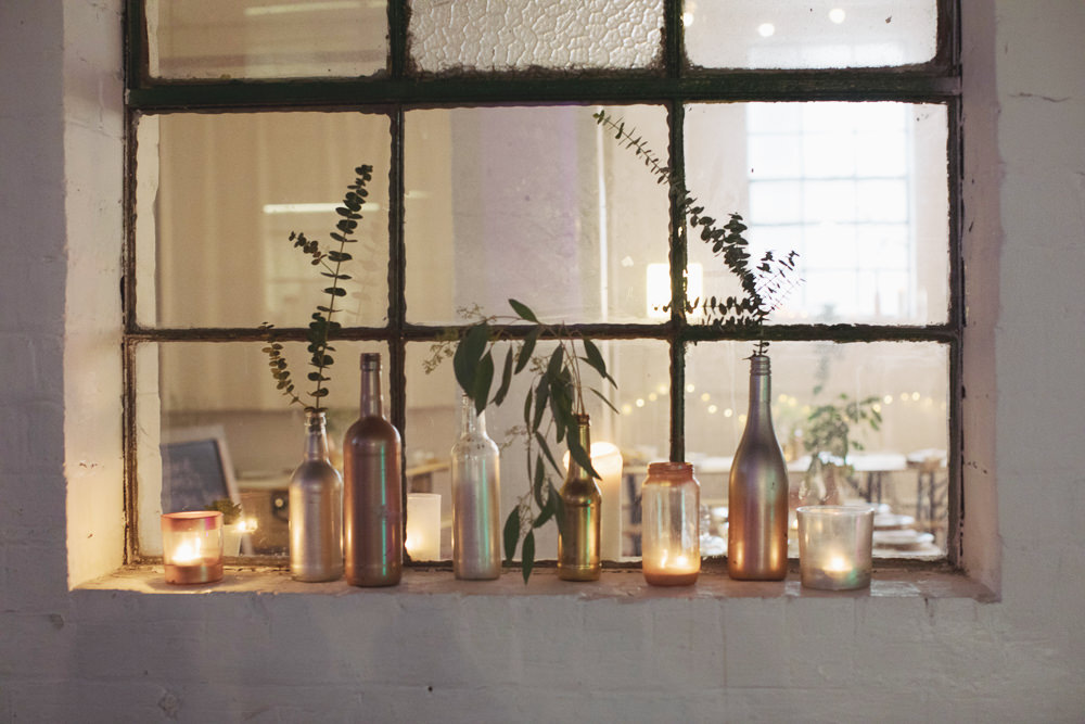 Spay Painted Bootle Decor Flowers Hide Sheffield Wedding Sasha Lee Photography