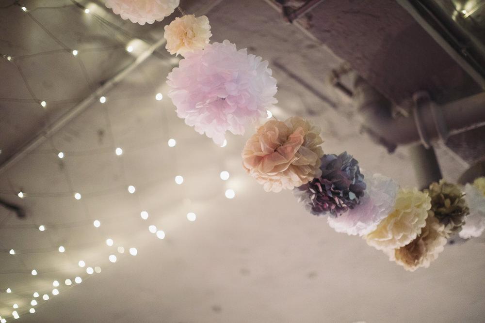 Pom Poms Tissue Paper Hide Sheffield Wedding Sasha Lee Photography