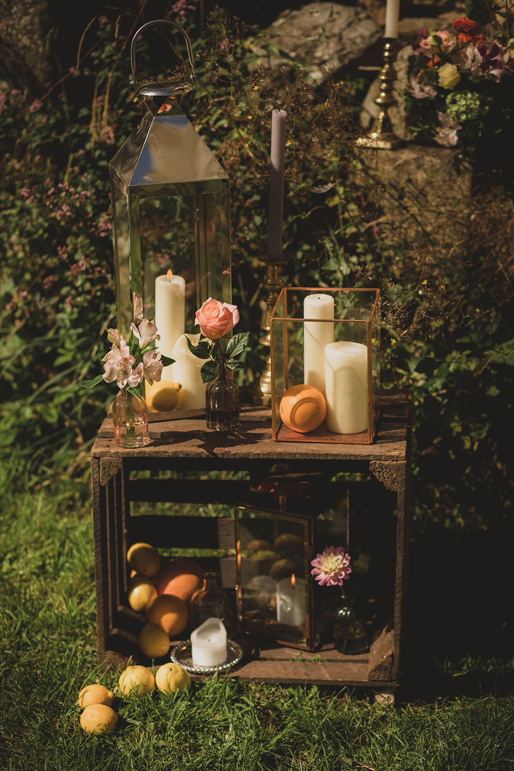 Jervaulx Abbey Wedding Ideas Laura Adams Photography Wooden Crate Decor Flowers Candles