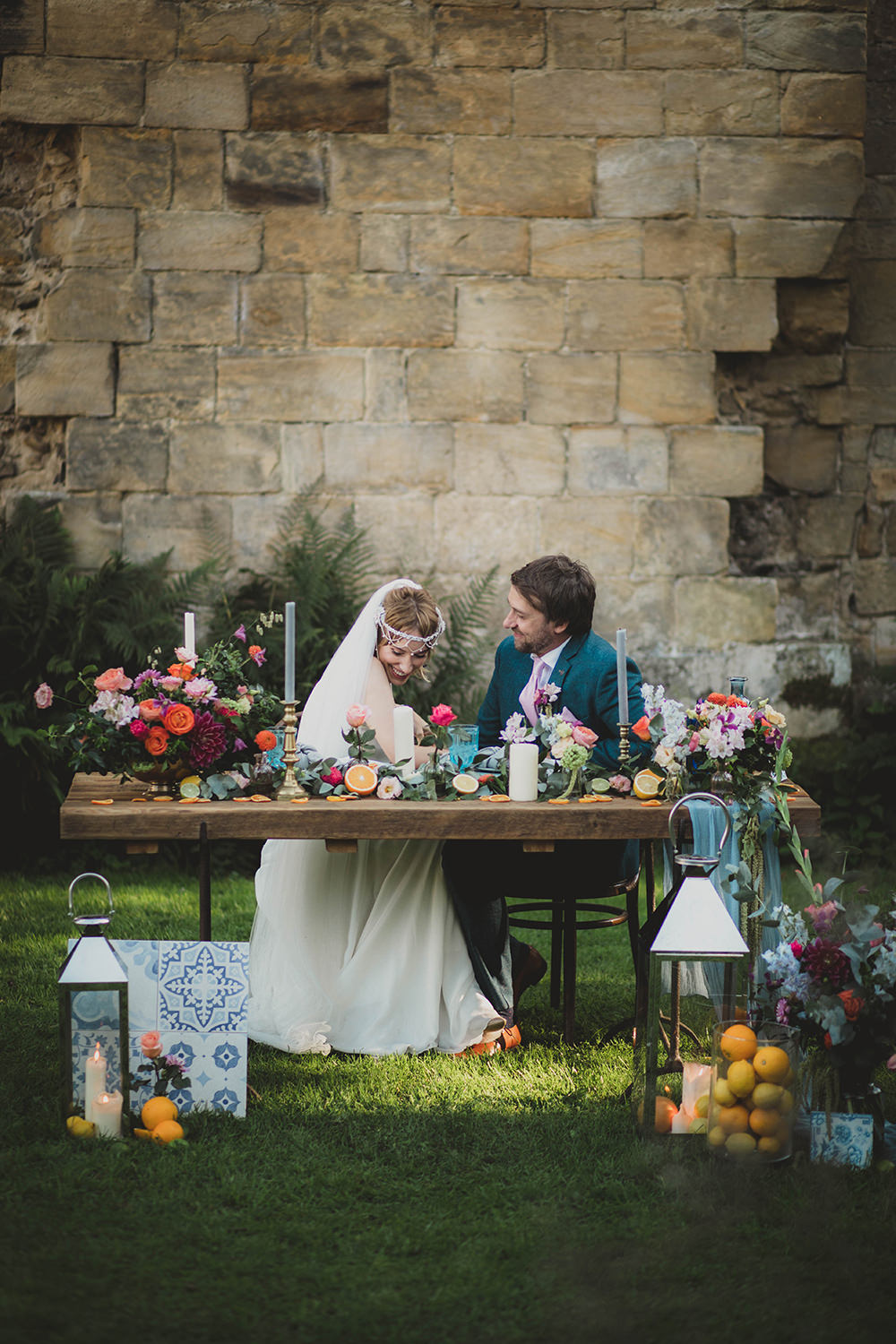 Jervaulx Abbey Wedding Ideas Laura Adams Photography Table Tablescape Decor Colourful Flowers Candles