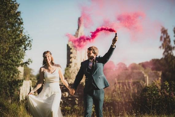 Jervaulx Abbey Wedding Ideas Laura Adams Photography Smoke Bombs