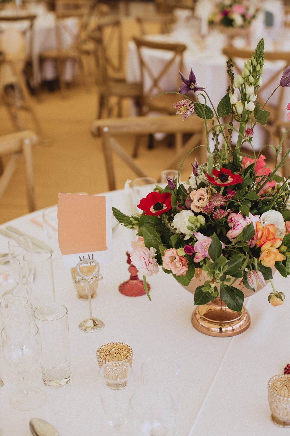 Table Centrepiece Flowers Decor Urn Candle Marquee Wedding Wales Fox & Bear Photography