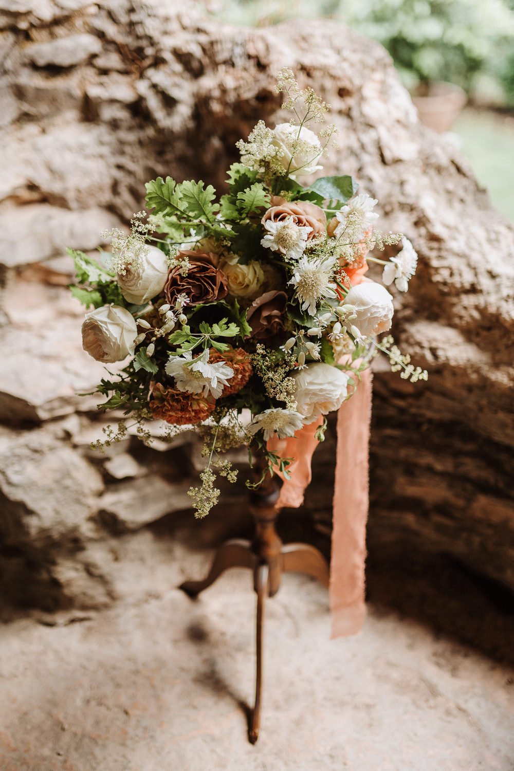 Bouquet Flowers Bride Bridal Peach Rose Greenery Ribbon Natural Wedding Ideas Frame Of Love