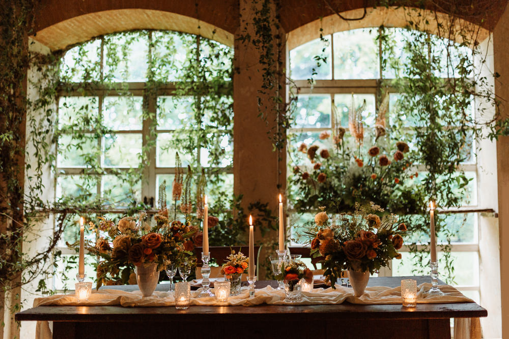 Greenhouse Decor Candles Table Tablescape Decor Peach Wild Flowers Greenery Natural Wedding Ideas Frame Of Love