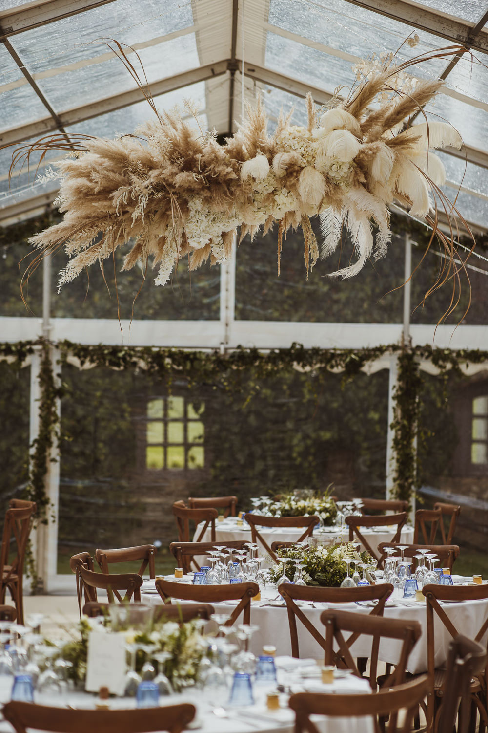 Clear Marquee Pampas Grass Cloud Flowers Hoop Decor Newburgh Priory Wedding Neil Jackson Photographic