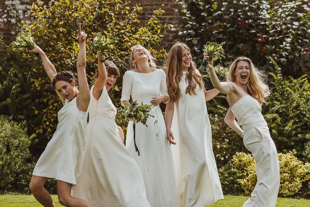 White Bridesmaid Dress Dresses Bridesmaids Trousers Newburgh Priory Wedding Neil Jackson Photographic