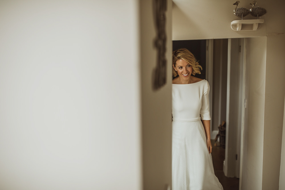Dress Gown Bride Bridal Long Sleeves Luna Bride Newburgh Priory Wedding Neil Jackson Photographic