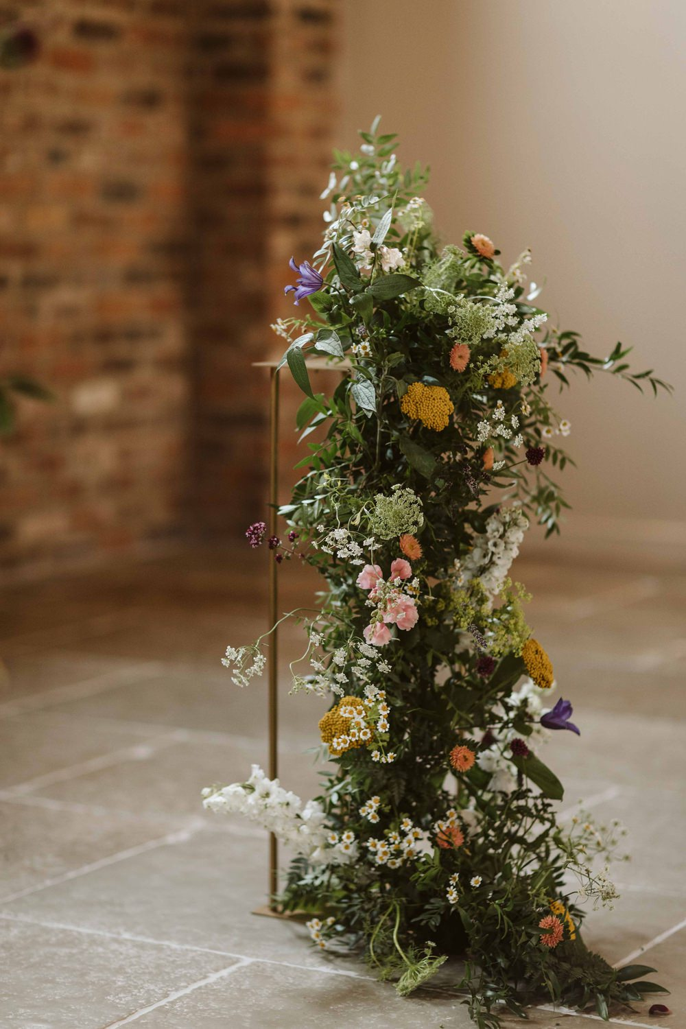 Flower Installation Tall Wire Stand Ceremony Oakwood at Ryther Wedding Freya Raby