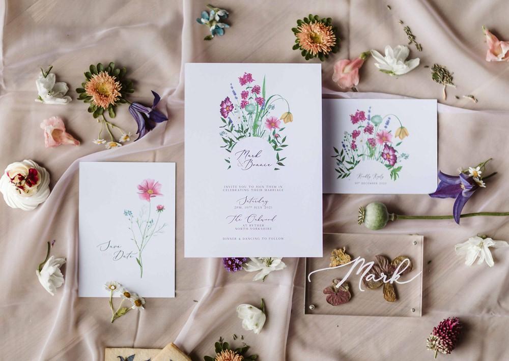 Floral Stationery Invite Invitation Oakwood at Ryther Wedding Freya Raby